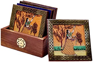 SAARTHI Traditional Gemstone Painting Tea Coffee Coaster Set - Home Decor Handicrafts | Home Decor | Home Decorative Items in Living Room, Bedroom| Showpiece| Utility Décor