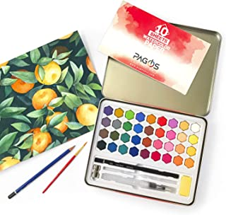 Pagos Watercolor Paint Set Art Kit of 36 Vivid Colors with 10 Sheets Water Color Paper, Refillable Brush with Sponge, Drawing Pencil, Brush, Perfect Gift for Adults Students Kids Beginners Artists