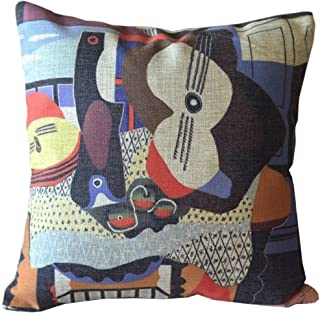 Colorful Picasso Imaginative Painting Sofa Simple Home Decor Design Throw Pillow Case Decor Cushion Covers Square 18*18 Inch Beige Cotton Blend Linen