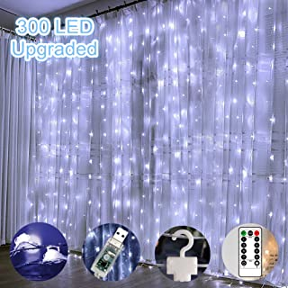 Window Curtain Lights 300 LED Upgraded Bigger Bulbs USB Plug in Fairy Lights 8 Modes Remote Control Curtain String Lights Waterproof LED Copper Wire Lights for Party Garden Bedroom Decor (Cool White)
