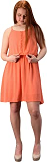 Peach Couture Spaghetti Strap Cut Out Back Lined Overlay Summer Crepe Dress