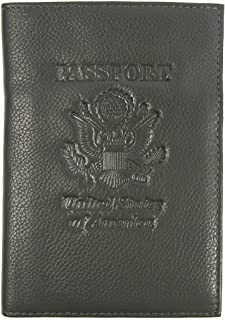 RFID Genuine Leather American Eagle Embossed Passport Wallet Holder Case