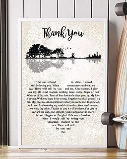 Thank You Lyrics Portrait Poster Print (16