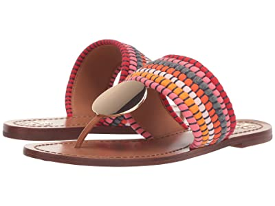 Tory Burch Patos Disk Sandal (Poppy Red Multi/Gold) Women