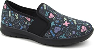 f82de4e6f6241 Women's Cute Memory Foam Nursing Shoes Flats Elastic Goring - Printed -  Florence Sunny