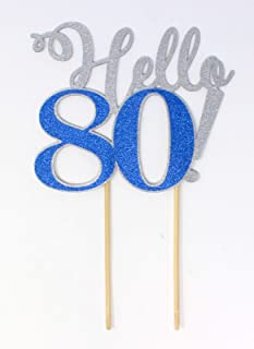 All About Details Hello 80! Cake Topper, 1pc, 80th Birthday, Party Decor, Glitter Topper Multi CATHE80