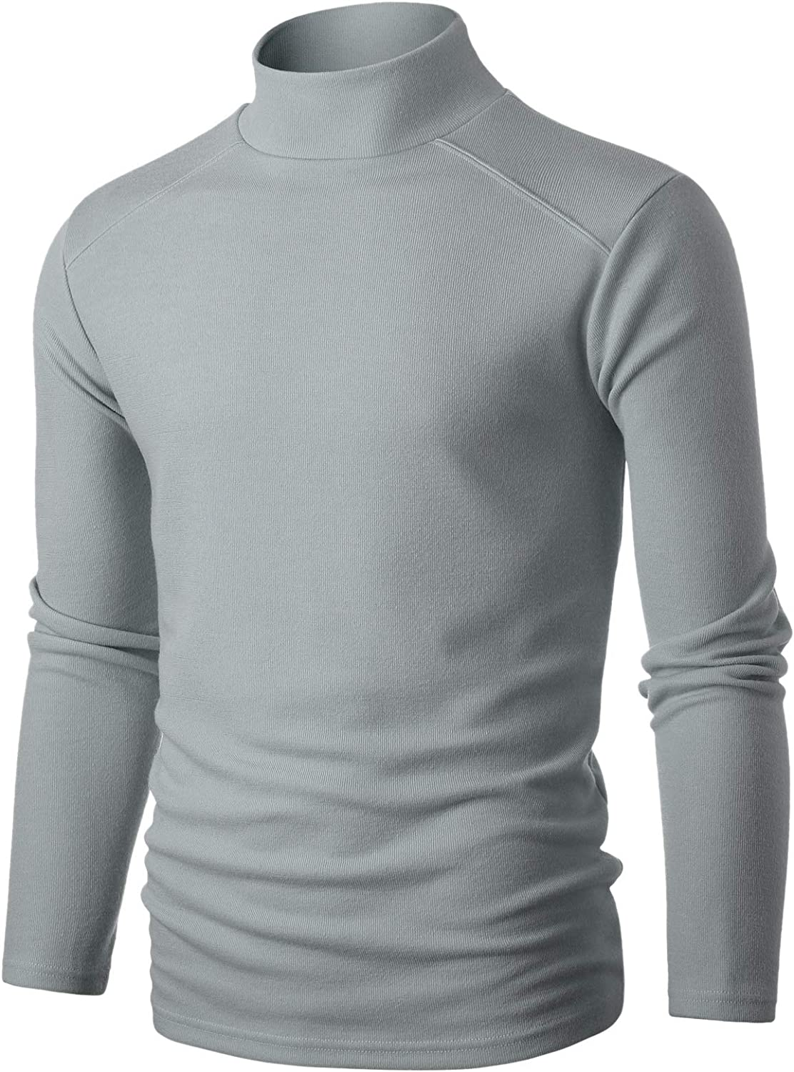 GIVON Mens Slim Fit Long Sleeve Solid Knit Ribbed Mock Neck Pullover Sweater