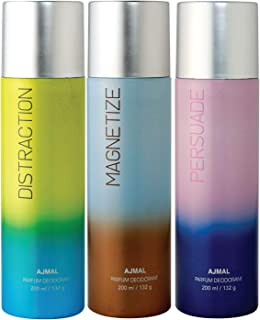 Ajmal Distraction & Magnetize & Persuade Deodorant Combo Pack of 3 Deodorants 200ml each (Total 600ML) for Men & Women + 4...