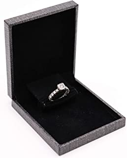 Gems on Display Grey Slim Jewelry Engagement Proposal Wedding Ring Box