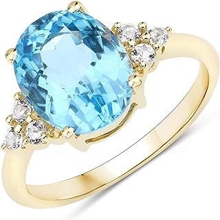 JOHAREEZ 10kt Gold Swiss Blue Topaz Ring - 4.24 Carat Natural Swiss Blue Topaz Oval and White Topaz Ring in Solid 10kt Gol...