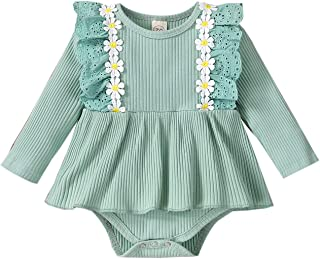 Livingsenburg Infant Baby Girl Ribbed Rompers Bodysuit One-Piece Solid Color Long Sleeve Playsuit Round Neck Ruffle Jumpsu...