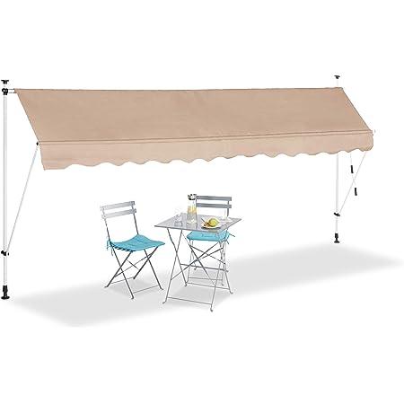 Relaxdays Tenda da Sole, Protezione per Il Balcone, Regolabile, Senza Forare, a Manovella, 400 cm di Larghezza, Beige, 400 x 120 cm