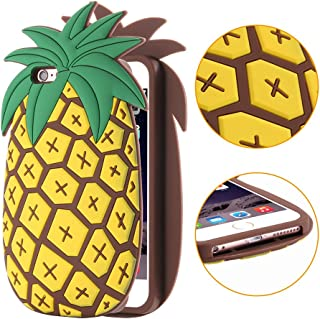 iPhone6Plus Case,Three Cray Cartoon Silicone Simulation Fresh Food Fruit Cool Yellow Pineapple Green Cactus Soft Silicone Case Cover for iPhone6Plus Case(5.5inch)