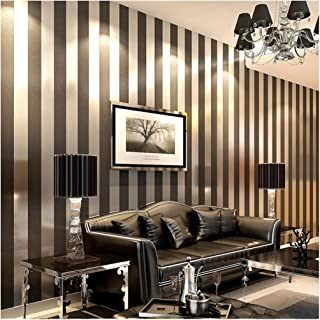 QIHANG Modern Minimalist Non-Woven Vertical Stripes Wallpaper Roll Black Gray 0.53m10m=5.3㎡