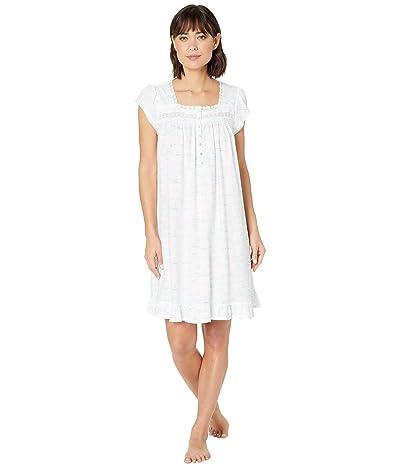 Eileen West Cotton Jersey Short Sleeve Short Nightgown (White Ground/Sailboats) Women