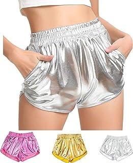 Women's Metallic Shiny Shorts Sparkly Rave Yoga Hot Short...