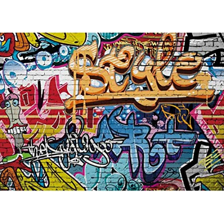 OERJU 5x4ft Graffiti Wall Backdrop 80s Hip Hop Background for Photography Hand Drawing Mural Painting on Brick Wall Photo Boys Adults Portrait Photo Studio Props Room Decora Vinyl Wallpaper