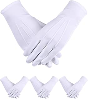 Sumind 4 Pairs Uniform Gloves Spandex Gloves Dress Glove for Man Police Formal Tuxedo Guard Parade Costume