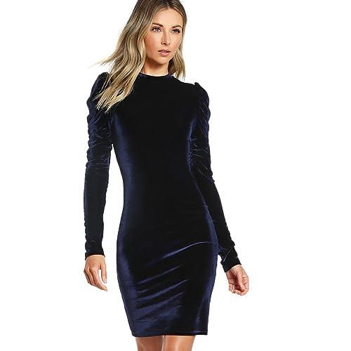 8368df12a97 Floerns Women s Puff Long Sleeve Cocktail Velvet Bodycon Dress