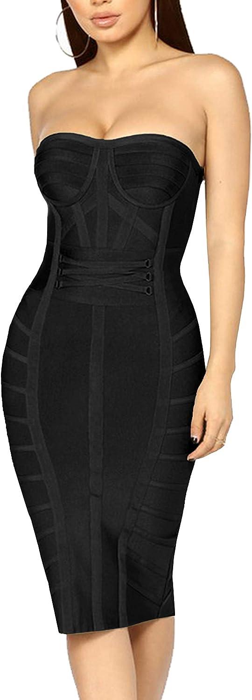 Hybrid & Company Women's Sexy V Neck Off Shoulder Bodycon Stretch Knee Length Midi Bandage Dress for Party