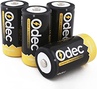 Odec Rechargeable D Battery, 4-Pack 10000mAh Deep Cycle NiMH Battery Pack