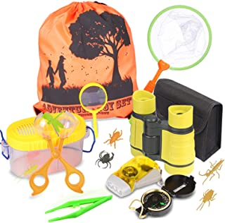 Outdoor Explorer Kit & Bug Catcher Kit with Binoculars, Flashlight, Compass, Magnifying Glass, Butterfly Net and Backpack ...