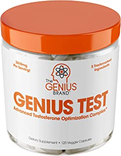Genius Test - The Smart Testosterone Booster For Men | Natural Energy Supplement, Brain & Libido Support, Fat Loss | Muscl...