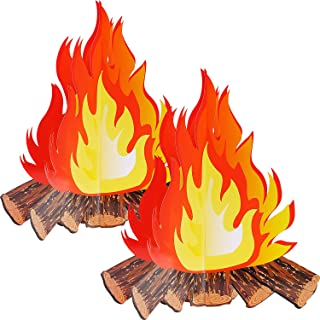 12 Inch Tall Artificial Fire Fake Flame Paper 3D Decorative Cardboard Campfire Centerpiece Flame Torch for Campfire Party Decorations (2 Set)