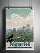 Winterfell travel poster, Game of Thrones art, Vintage travel art style