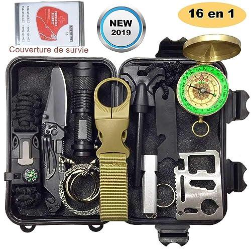 Kits de survie d'urgence 16 en 1,Multi outils de survie professionnelle Avec Trousse de Premiers Secours Sécurité à l'extérieur Équipement de défense pour voyager Randonnée Cyclisme Escalade Chasse