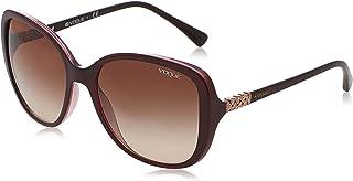 VOGUE Women's Plastic Woman Square Sunglasses, Top Brown/Opal Pink, 56 mm
