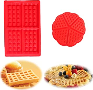 YIKEF Molde Gofres Silicona, Moldes Waffle, Galletas para Tarta Muffin Cocina Herramientas, para Lavavajillas, Horno, Microondas, Refrigerador