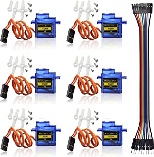 6 PCS SG90 Micro Servo Motor 9G for RC Helicopter Airplane Remote Control for Arduino Raspberry Pi(Include Dupont Cable)