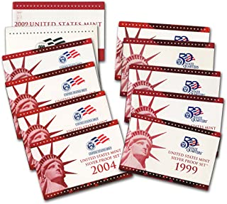 1999 2000 2001 2002 2003 2004 2005 2006 2007 2008 2009 United States Mint Silver Set Proof
