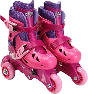 PlayWheels Disney Princess Glitter Convertible 2-in-1 Skates, Junior Size 6-9
