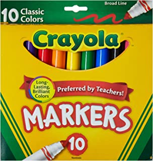 Crayola Broad Line Markers, Classic Colors 10 Each (Pack of 2)