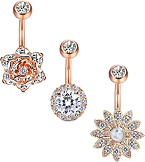 3-8 Pcs 14G Stainless Steel Belly Button Rings Barbell Navel Rings Bar for Women CZ Flower Body Piercing