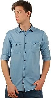 TED HARBOR Men Solid Denim Blue Shirt