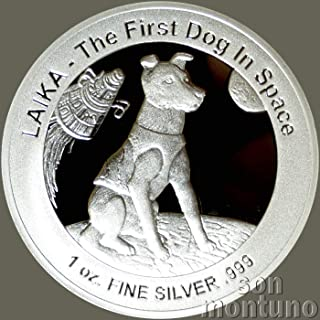 LAIKA RUSSIAN SPACE DOG SILVER COIN - First Dog in Space - 1 oz Silver Proof One Dollar Coin with Certificate of Authenticity - 2018 Niue $1