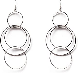 Silver Tone Entwined Circles Drop Earrings