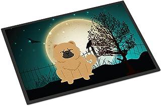 "Caroline's Treasures Halloween Scary Chow Cream Indoor or Outdoor Mat 18x27 BB2334MAT, 18 x 27"" Multicolor"
