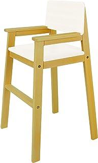 Trona infantil de madera maciza de haya, color nogal y blanco, para mesa de comedor, silla alta para niños, estable y fácil de limpiar, muchos colores posibles.