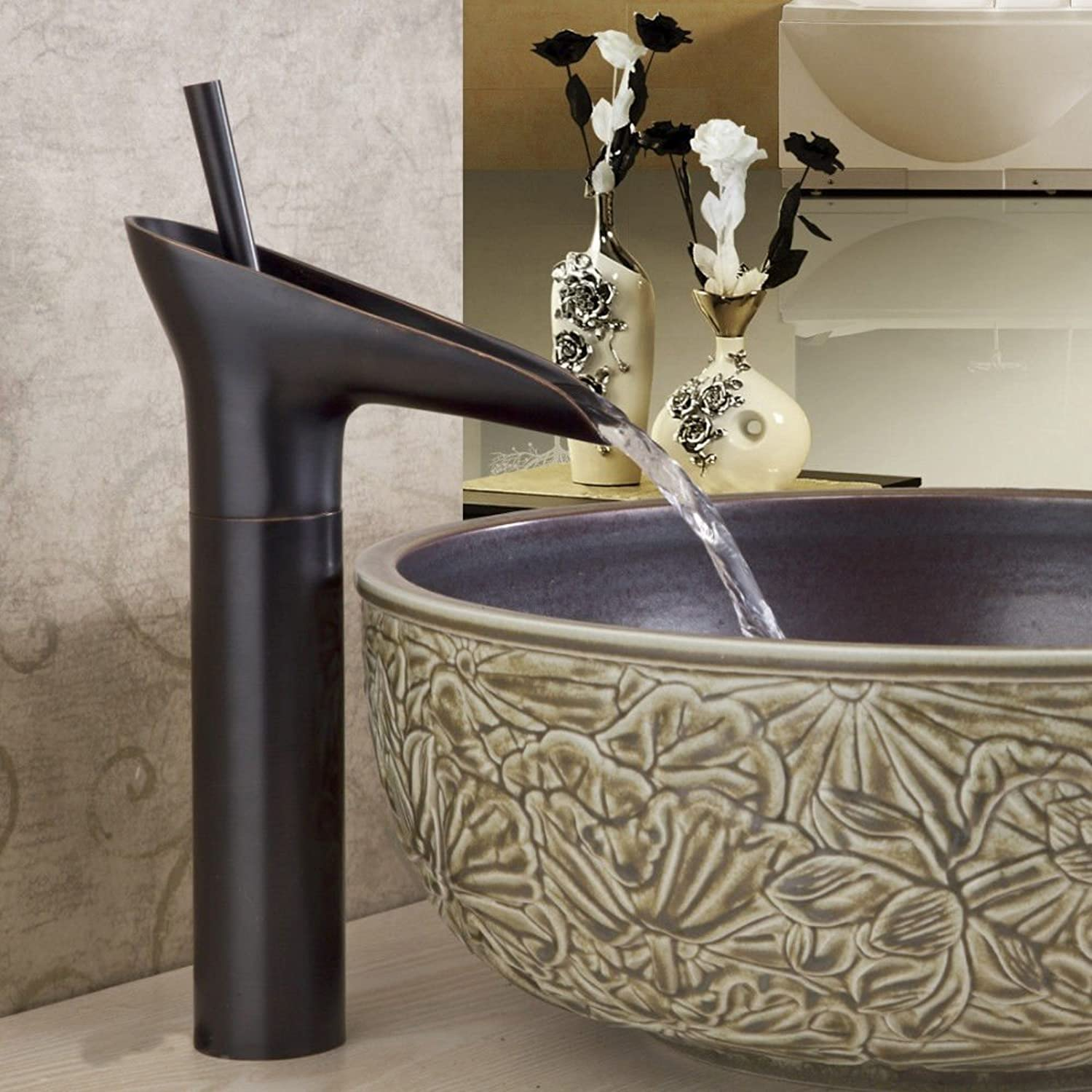 Lpophy Bathroom Sink Mixer Taps Faucet Bath Waterfall Cold and Hot Water Tap for Washroom Bathroom and Kitchen Copper Black Antique color Hot and Cold Water