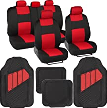 BDK OS-309-RD+MT-861-RD Two-Tone PolyCloth Car Seat Covers w/Motor Trend Dual-Accent Heavy Duty Rubber Floor Mats-Black/Red