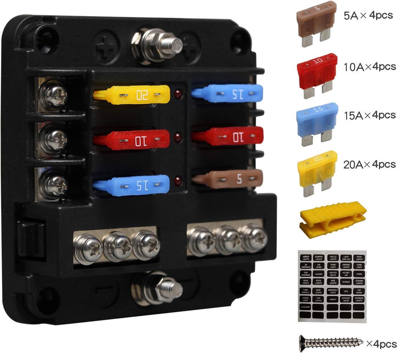 Kfz Sicherungshalter Flachsicherung, ENDARK Kfz Sicherungskasten, 8 Fach  Sicherungshalter mit LED Anzeige Negativen Bus für Auto, Boot, Van, Suv, LKW