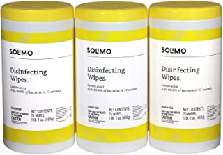 Amazon Brand - Solimo Disinfecting Wipes, Lemon Scent, 75 Wipes Each (Pack of 3)