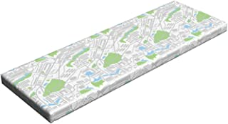 Lunarable Children's City Map Bench Pad, Urban Planning Pattern with Roads Parks and Buildings, Standard Size HR Foam Cushion with Decorative Fabric Cover, 45