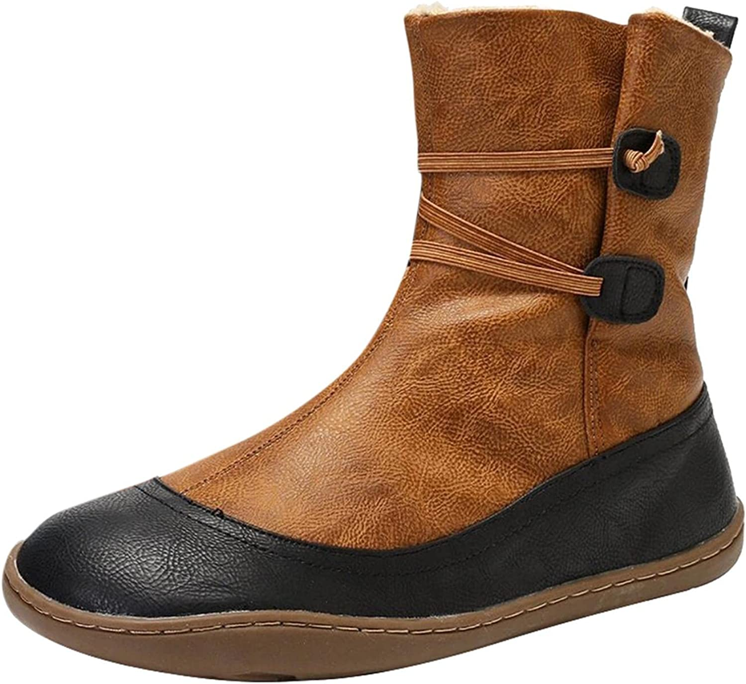Zieglen Women's Winter Boots, Women's Boots with Leather Round Toe Ankle Booties Western Boots Snow Boots Motorcycle Boots