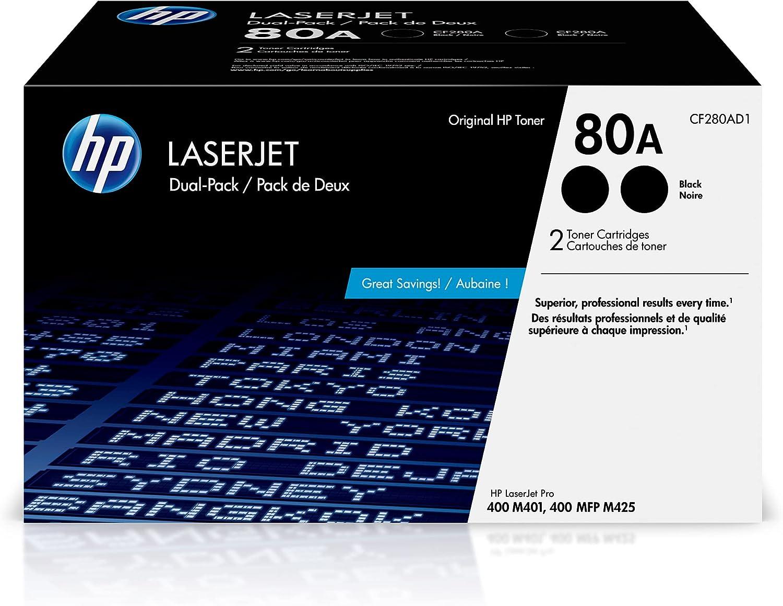 HP 80A | CF280AD1 | 2 Toner-Cartridges | Black | Works with HP LaserJet Pro 400 Printer M401 series, M425dn