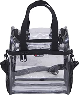 Amaro Premium 0.55mm Clear Dual Compartments Lunch Bag for Adult | Double Deck See Through Reusable Lunch Box for Workplaces | Men and Women Adjustable Shoulder Strap with Large Side Mesh Pockets